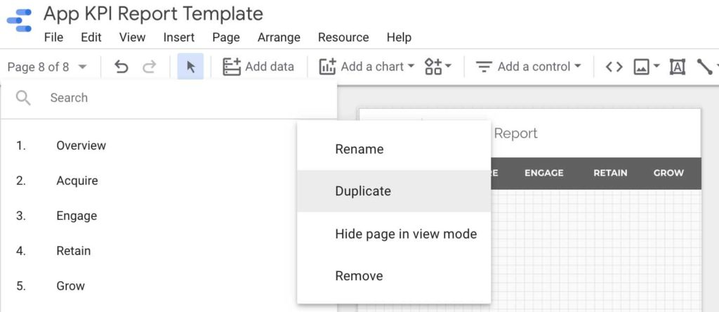 How to duplicate a page in Google Data Studio