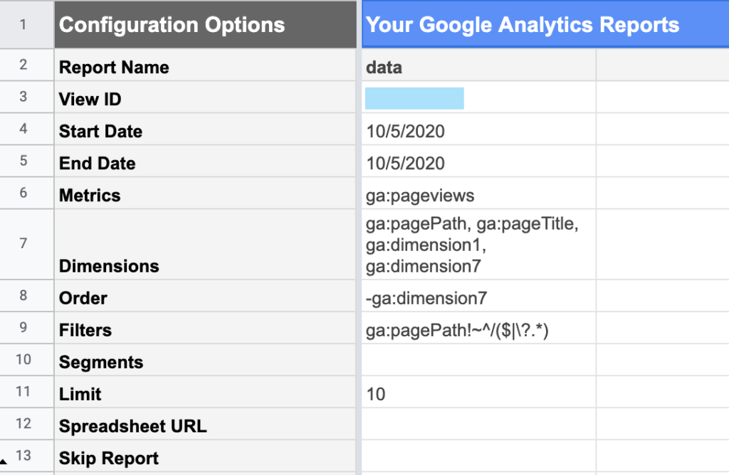 Building a Google Analytics Query using the Google Sheets Addon for Google Analytics