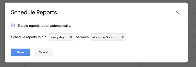 Schedule the Google Sheet Query to run everyday to update your list of articles